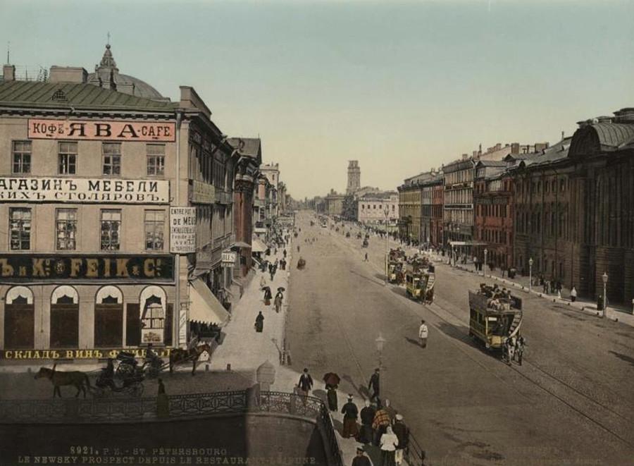 Perspective Nevski (Saint-Pétersbourg). Vue depuis le restaurant Lejeune. 1900-1907
