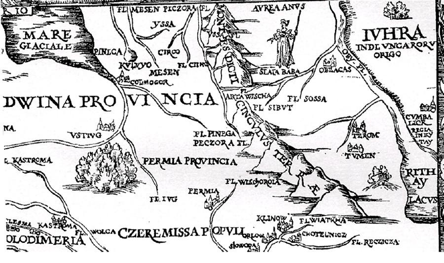 ジギスムント・フォン・ヘルベルシュタイン外交官が作った地図、右側にチュメニ(チンギ・トゥラ)のしるしがある