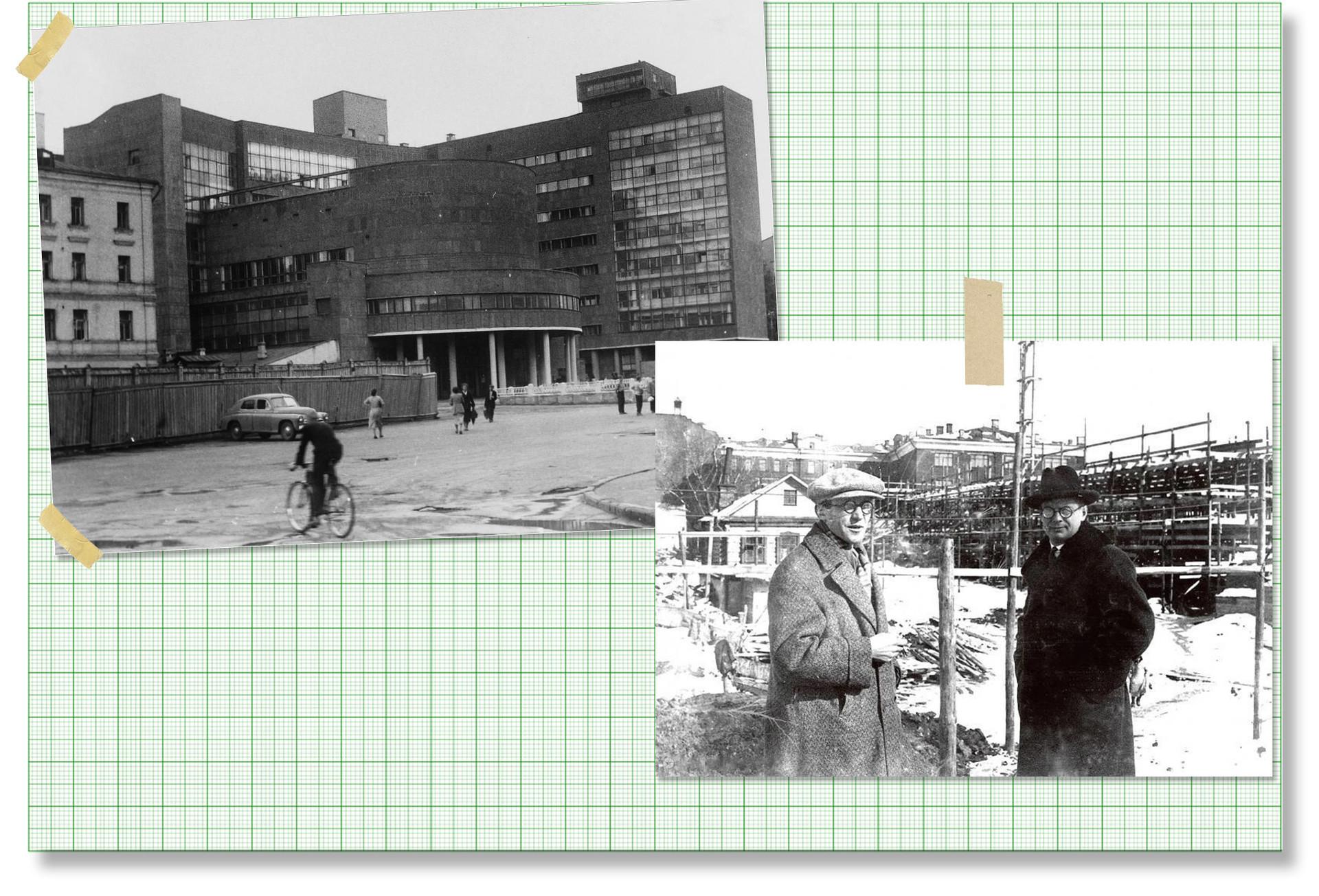 De gauche à droite : le Tsentrosoyouz à Moscou ; Le Corbusier et Nikolaï Kolli sur le chantier du Tsentrosoyouz, Moscou, mars 1931.