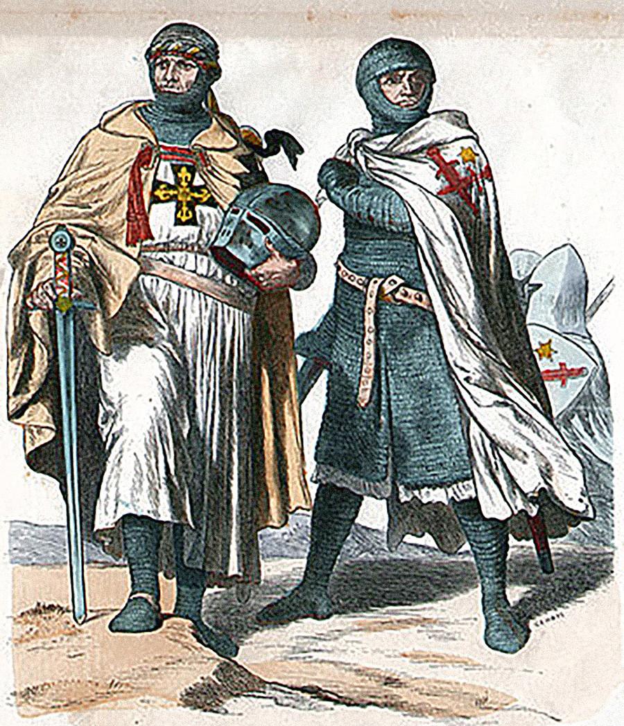 Un chevalier teutonique (à gauche) et un frère de l'Épée (à droite)