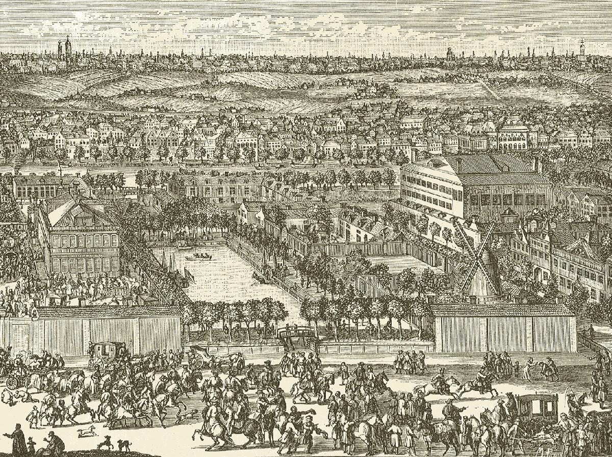 Новая Немецкая слобода в Москве. С гравюры Генриха де Витт, начало 18 столетия.