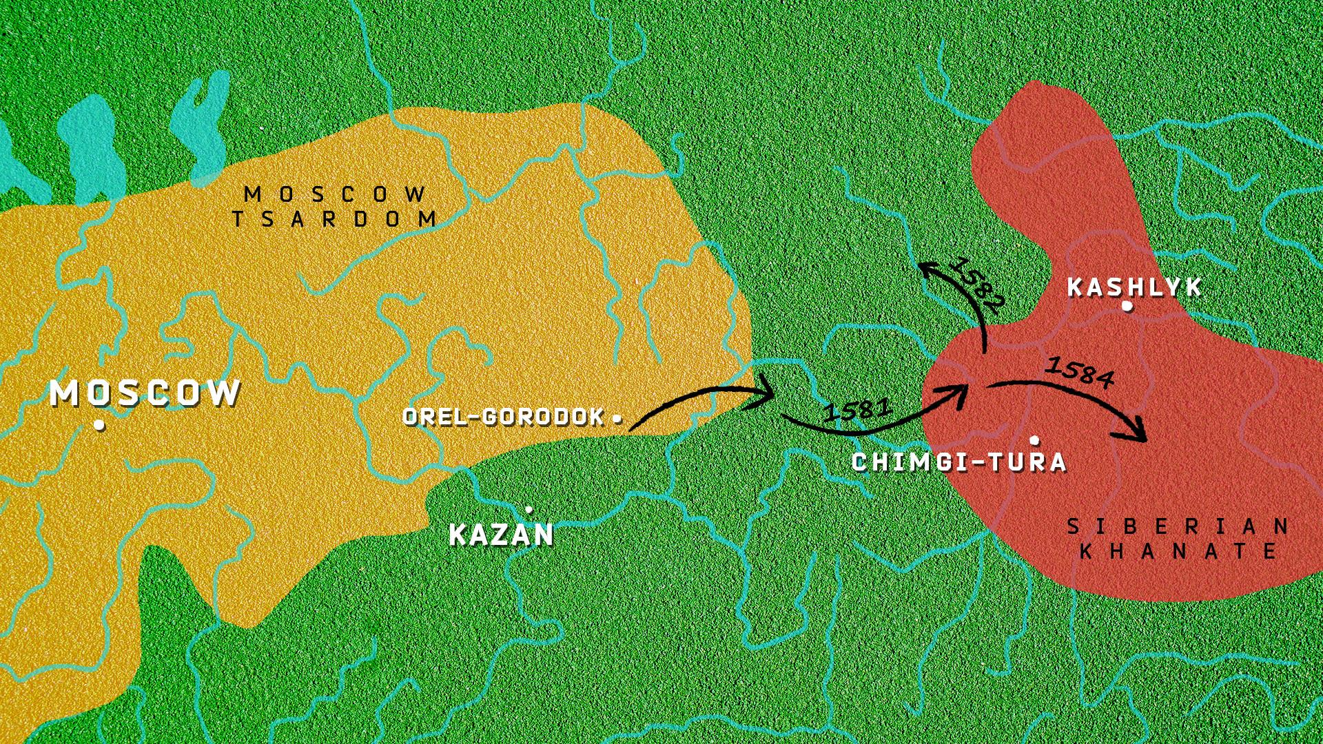 Peta Ketsaran Moskow dibandingkan dengan Kekhanan Sibir. Panah hitam menunjukkan perkiraan rute pasukan Yermak.