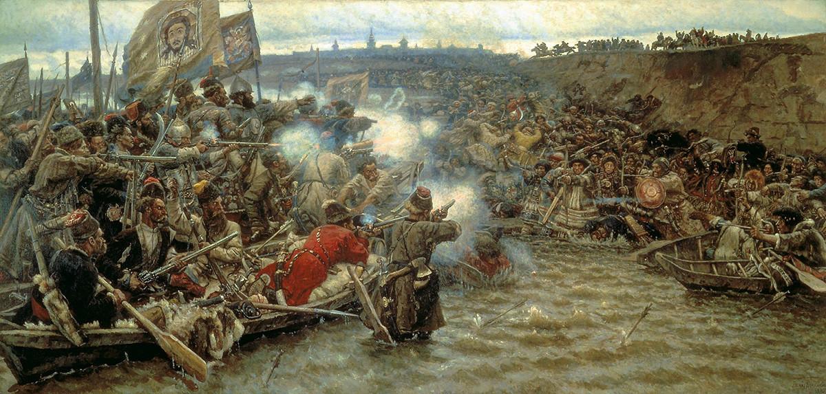 """""""Conquista da Sibéria por Ermák"""", de Vassíli Surikov, 1895. Imagem representa a batalha do cabo de Tchuvach"""
