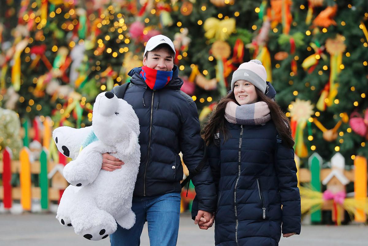Un jeune couple à Moscou