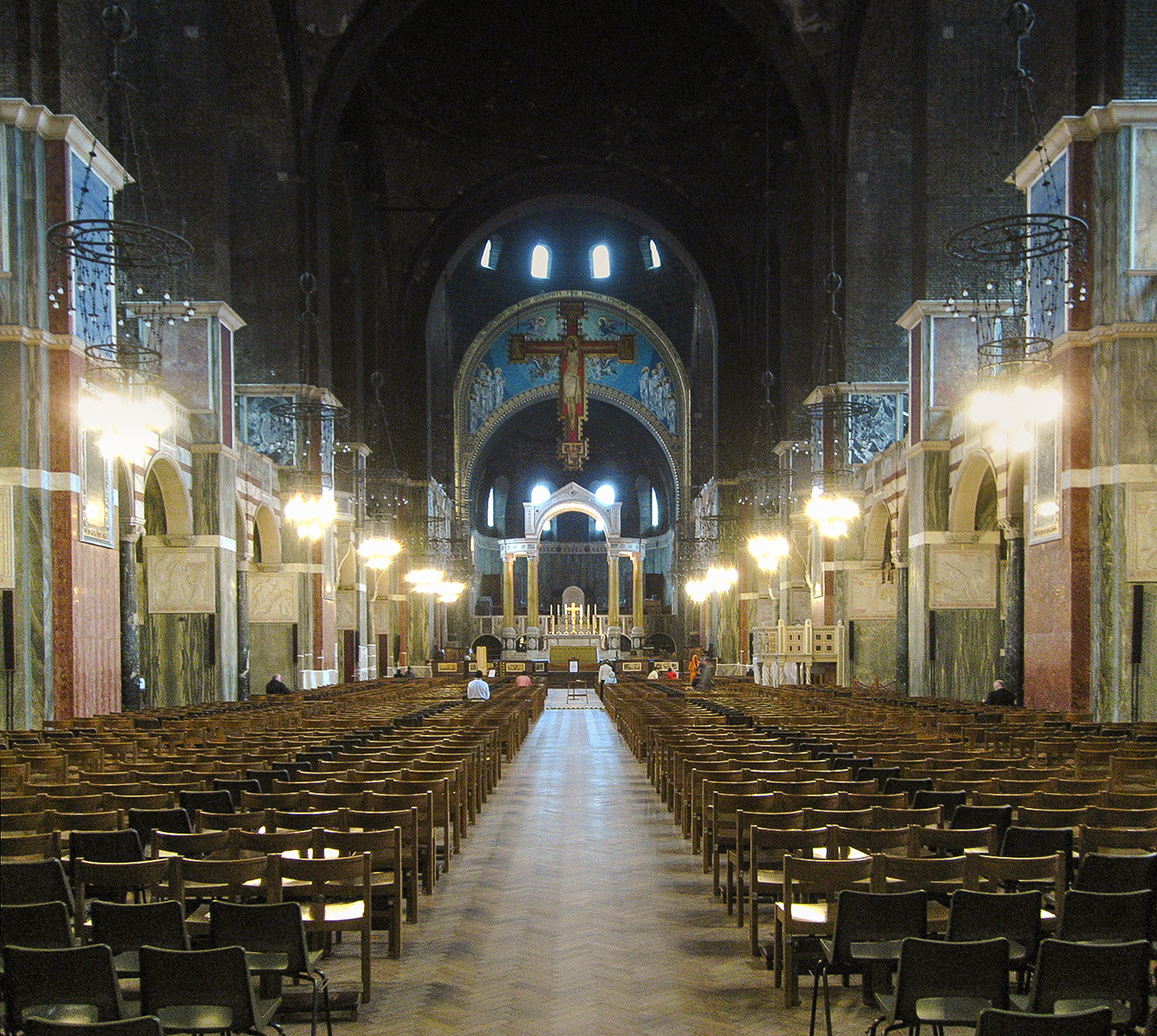 The scene was actually filmed in the Catholic Westminster Cathedral in London (not to be confused with Westminster Abbey)