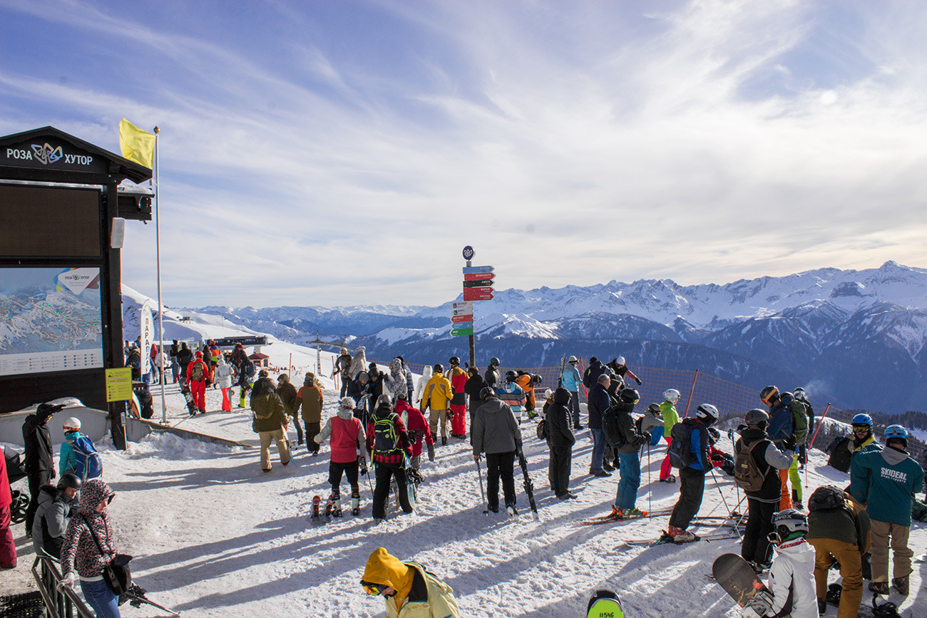 Riders at the Rosa Peak, the highest point of the Rosa Khutor resort.