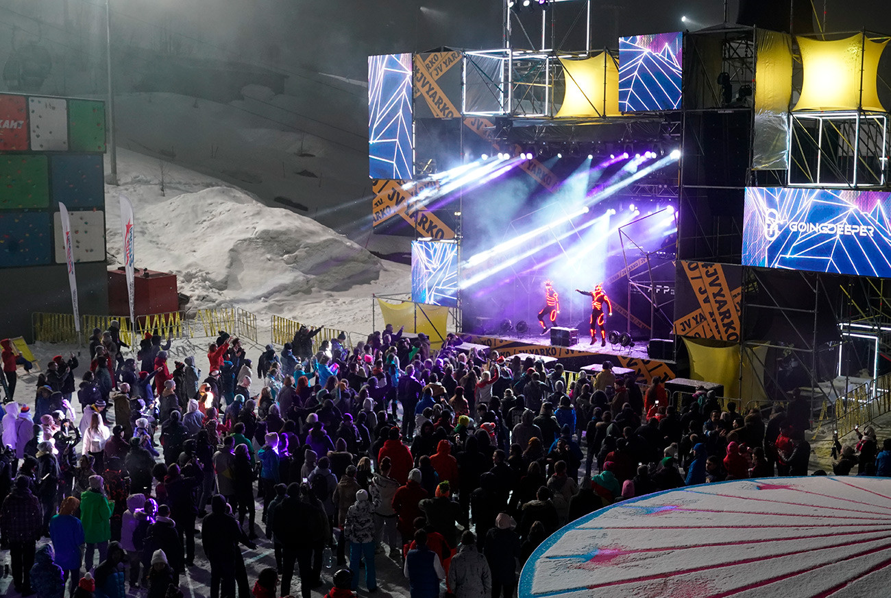 Alfa Future People Snow Edition festival at Rosa Khutor. Many of the social activities here are tailored for the Russian audience.