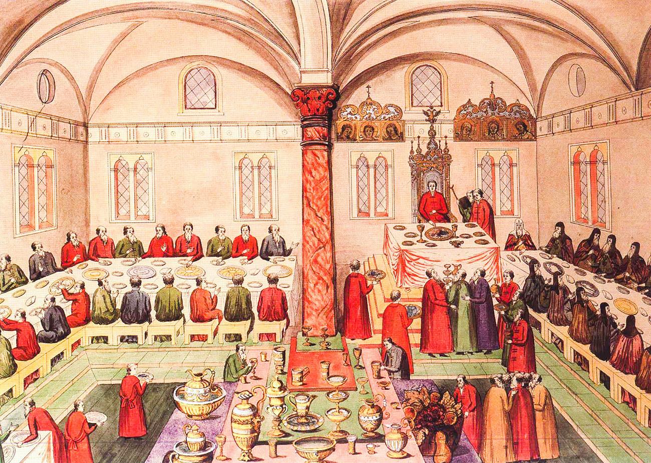 Banquete no Palácio das Facetas do Kremlin de Moscou, no século 17. A ordem de se sentar em tais banquetes era cuidadosamente elaborada para não ofender ninguém.