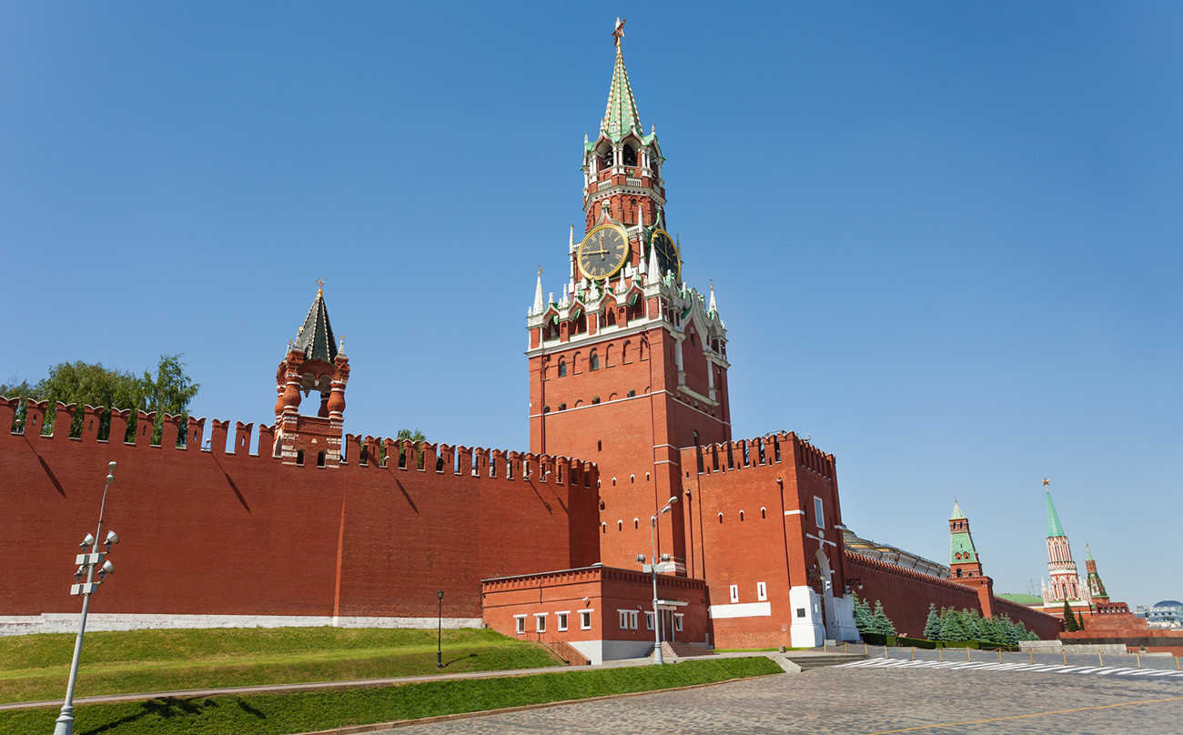 The real Kremlin, seen here from the same angle, is brick-colored and thankfully still in one piece
