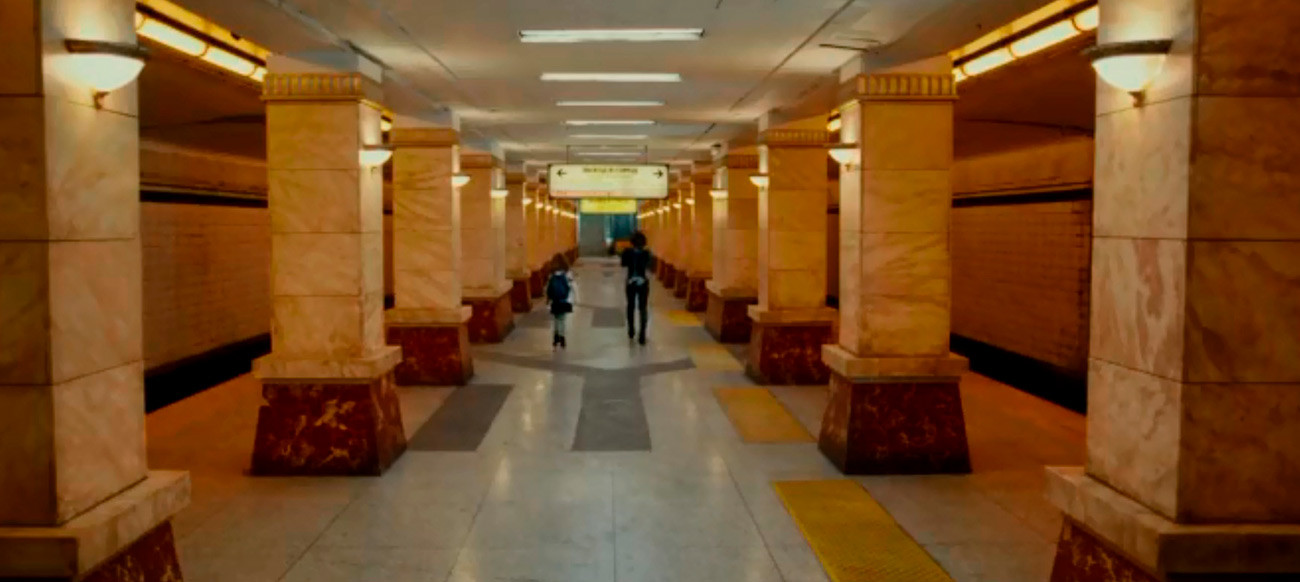 The scene in Resident Evil - Retribution, that appears to be taking place in Arbatskaya metro station on line 4