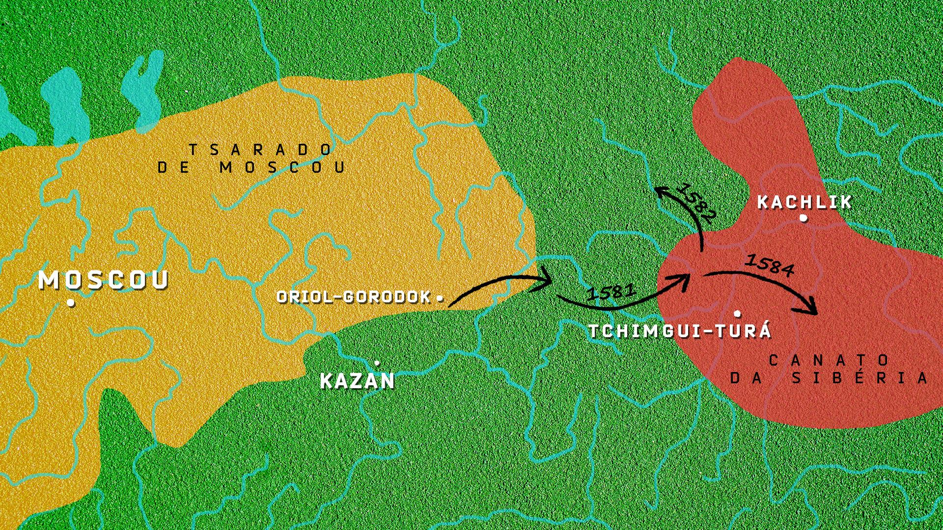 Mapa do Tsarado de Moscou em contraste com o canato da Sibéria; setas pretas indicam a suposta rota do exército de Ermák