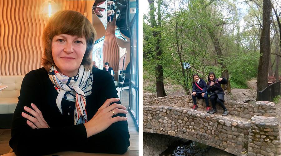Oksana Rilbalčenko (levo). Sofija in Stefanija v moskovskem parku (desno).