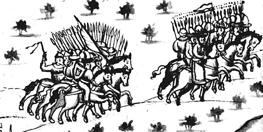 Khan Kütschüm flieht aus seiner Hauptstadt Kaschlyk. Illustration aus der Remezow-Chronik, spätes 17. Jahrhundert
