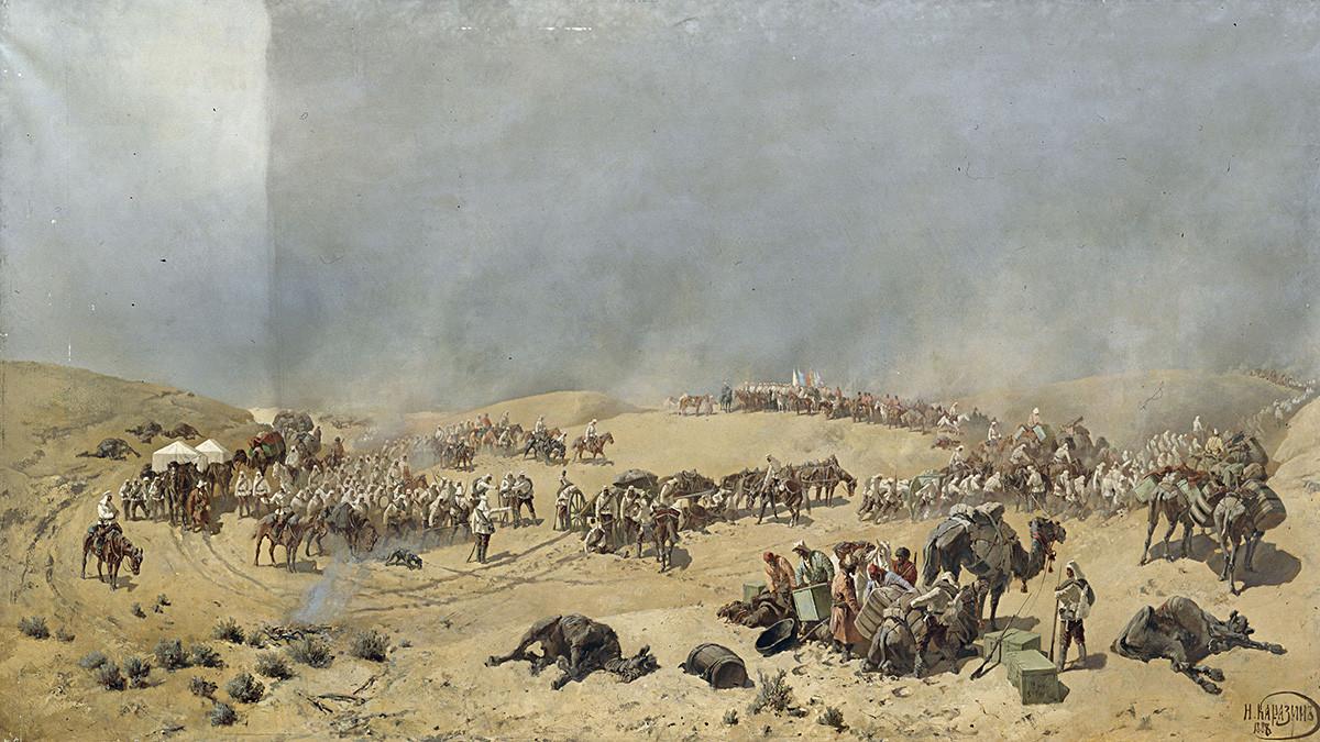"""Хивински поход 1873. године. Туркестански одред прелази кроз """"мртви песак"""" према изворима Адам Крилган, 1888. Уље на платну 179х321."""