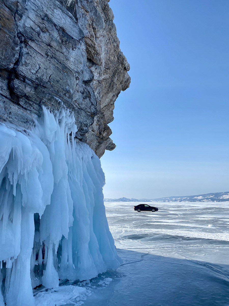One can drive over the Baikal when ice is at least 30 cm thick