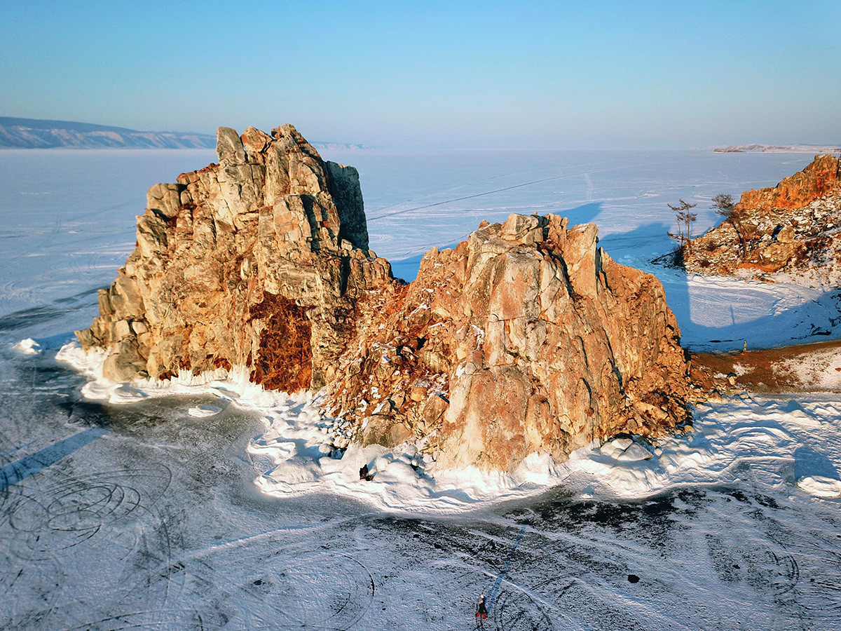Shamanka rock on Olkhon Island at sunset