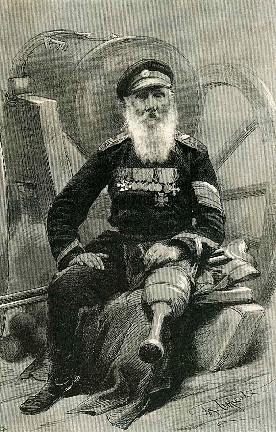 Le soldat Vassili Kotchetkov. Dessin de Piotr Borel. Vsemirnaïa illioustratsia n°1249 en date du 1 janvier 1893
