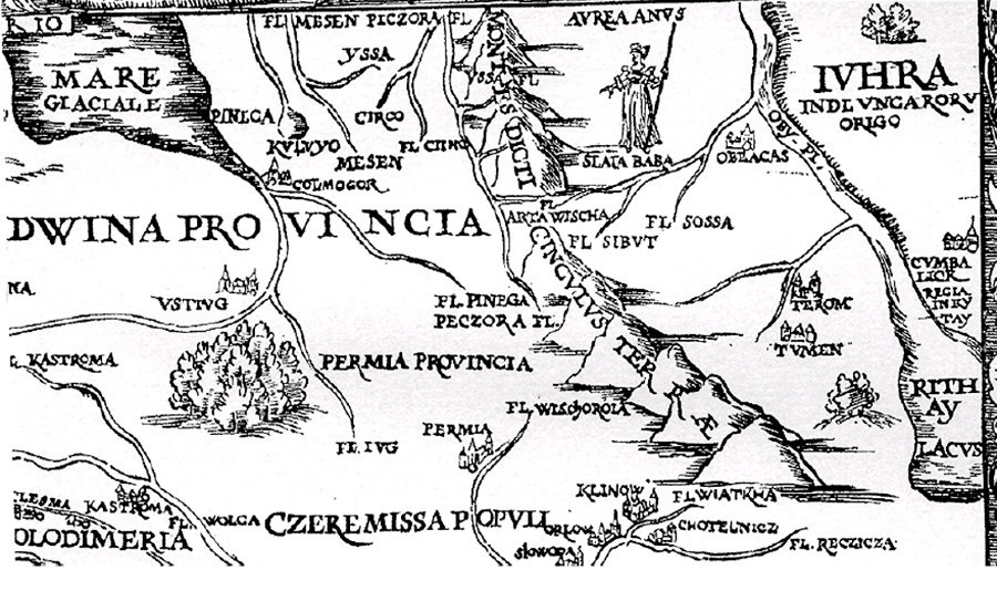 Тјумењ (Чинги Тура) на картата на Сигмунд фон Херберштајн, објавена во 1549 година.