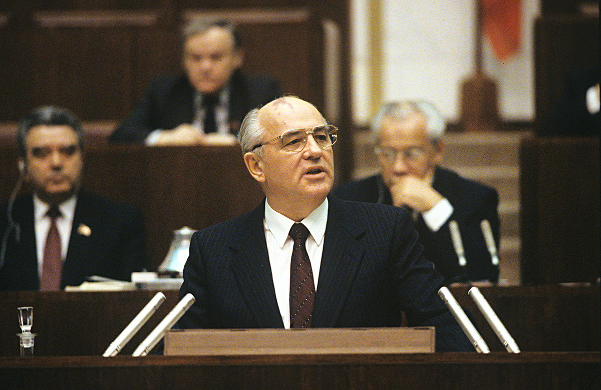 Mikhail Gorbachev during the USSR Supreme Soviet's session.