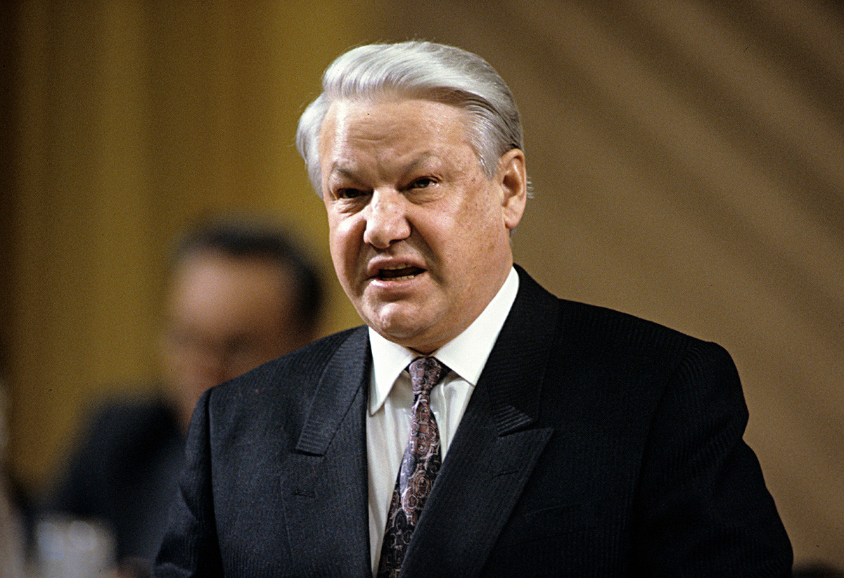 President Boris Yeltsin speaking at the All-Army Officers' Assembly, 1992