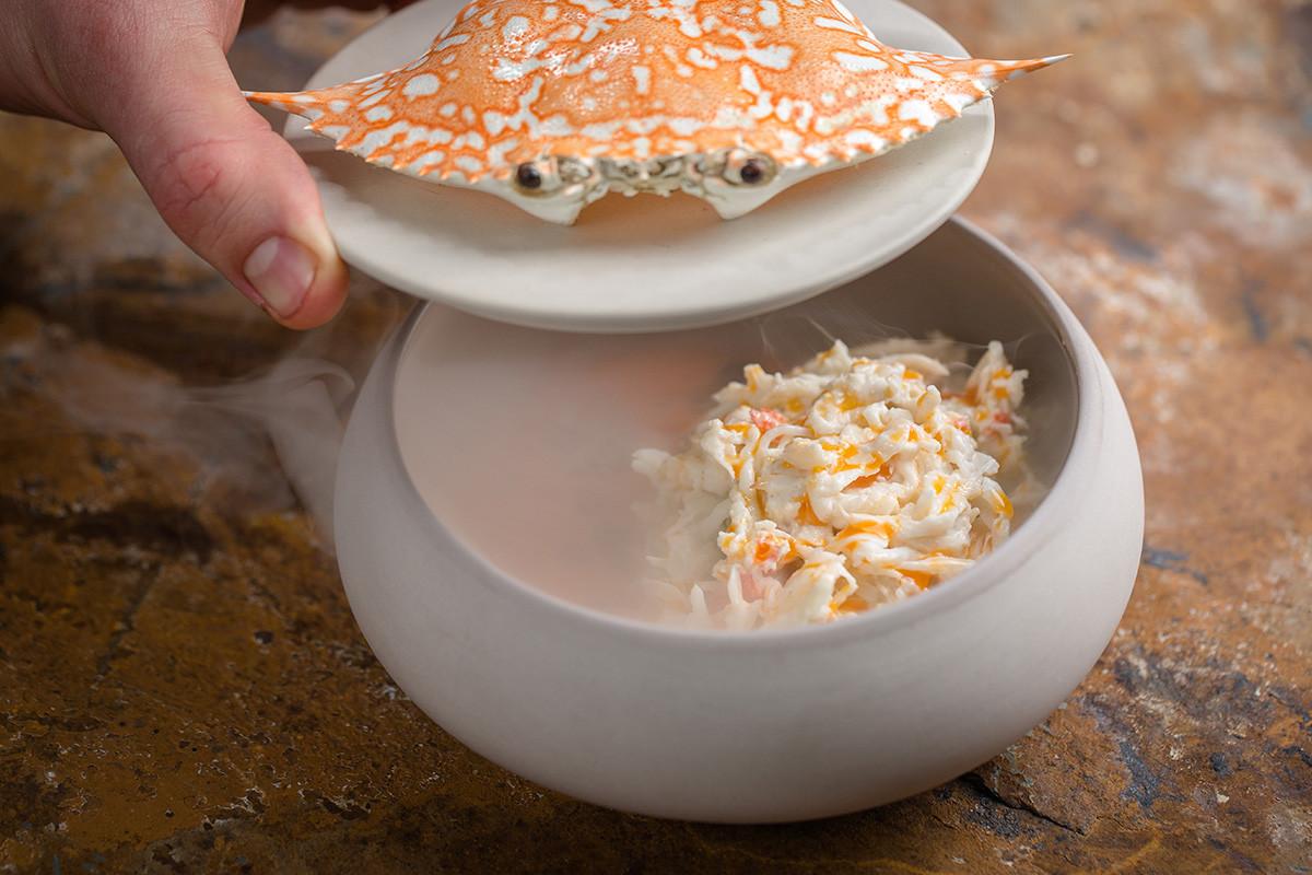 Ensalada con cangrejo de Kamchatka