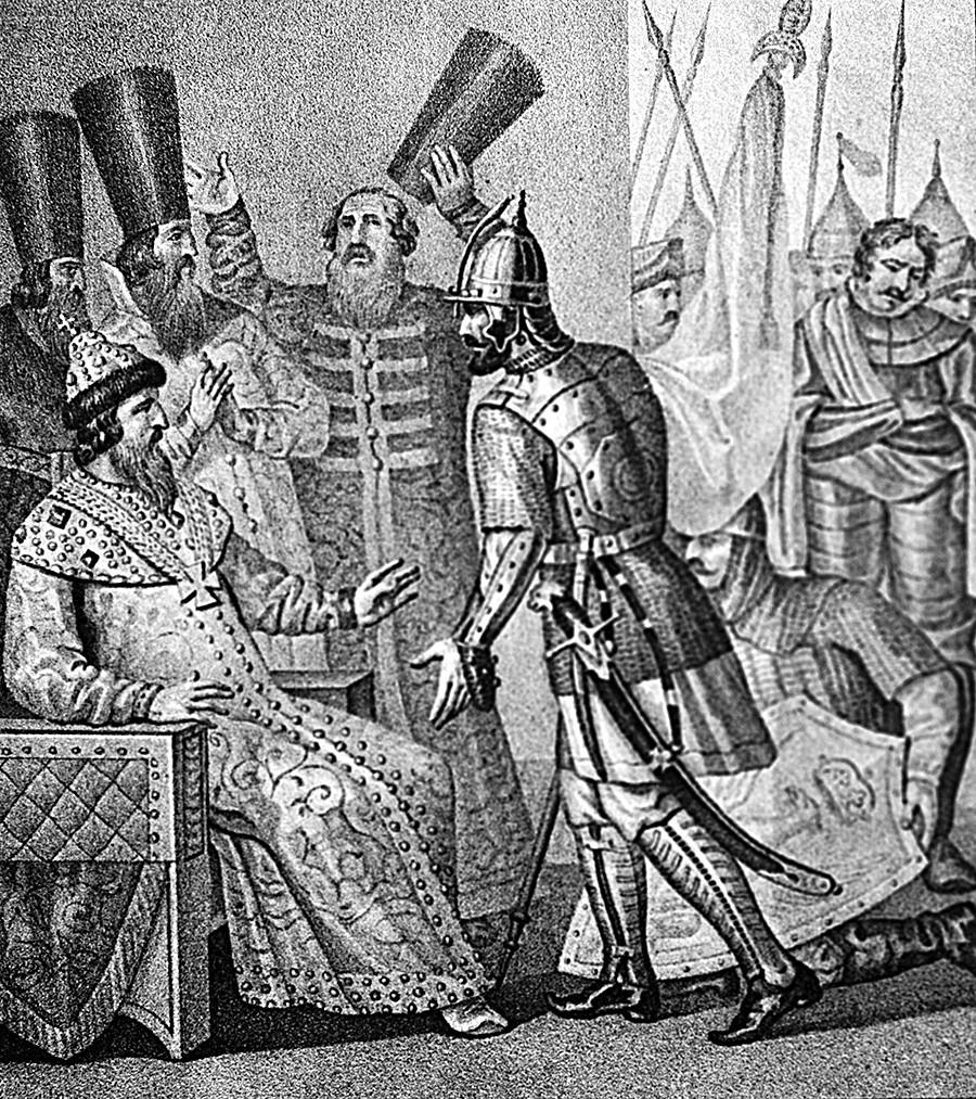 Le grand prince Ivan III recevant la nouvelle de la défaite de la Lituanie sur la rivière Vedrocha en 1500. Peinture sur pierre. Reproduction. P. Ivanov.
