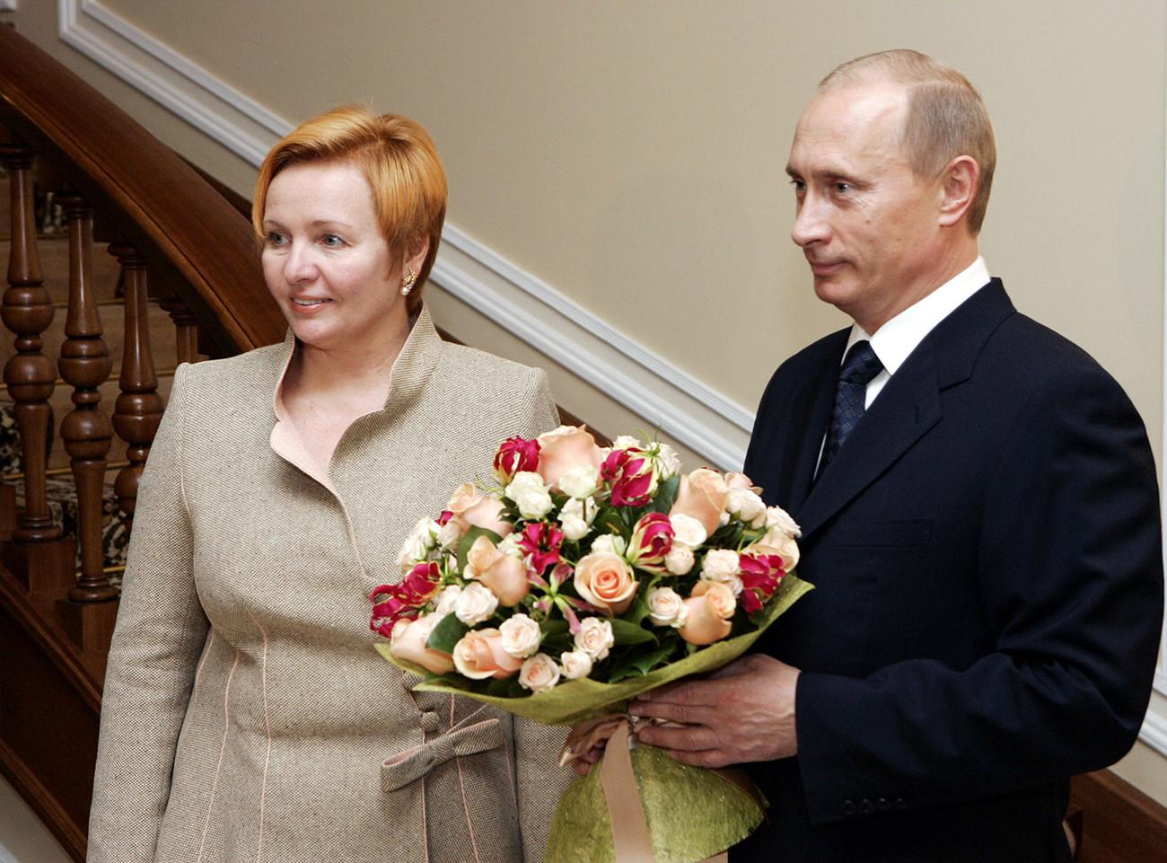 Poutine et son épouse d'alors, Lioudmila.
