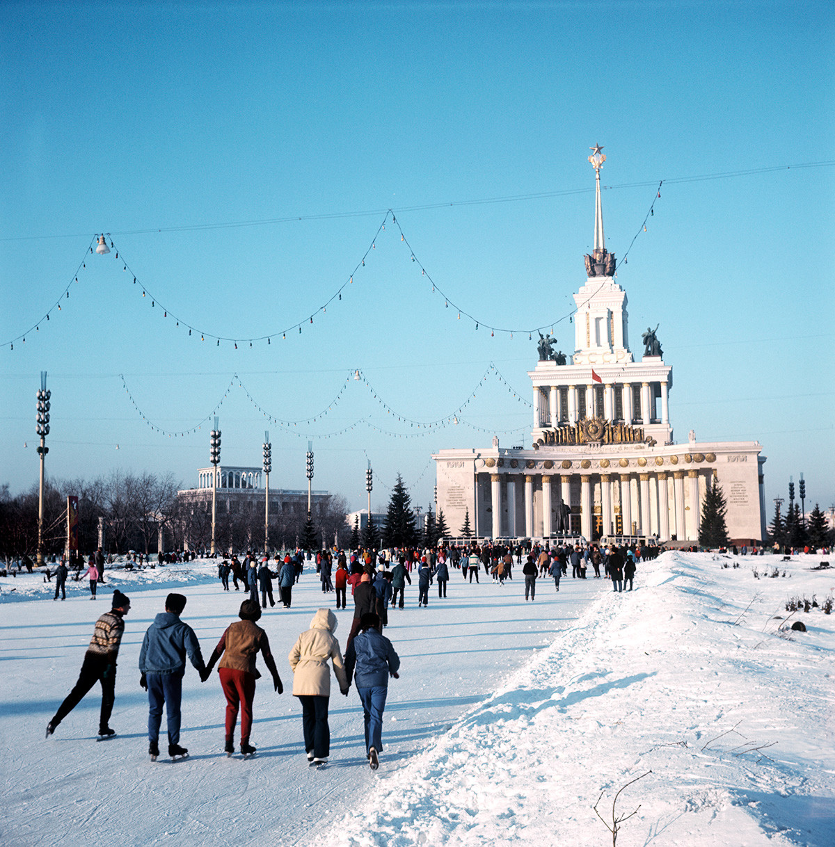 Skating at VDNKH Exhibition grounds, 1974