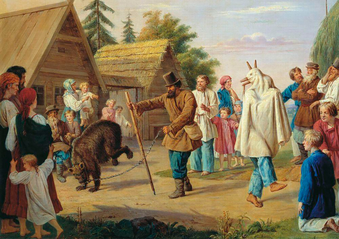 Skomorokhs in the village. Chromolithograph. Russian Empire, 1857. ---