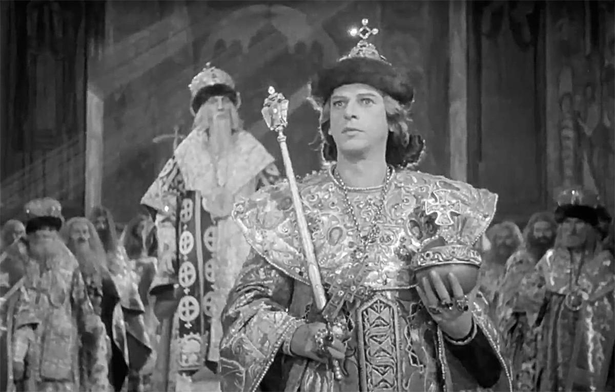 Die Krönung von Zar Iwan IV. Aus dem Film von Sergei Eisenstein.