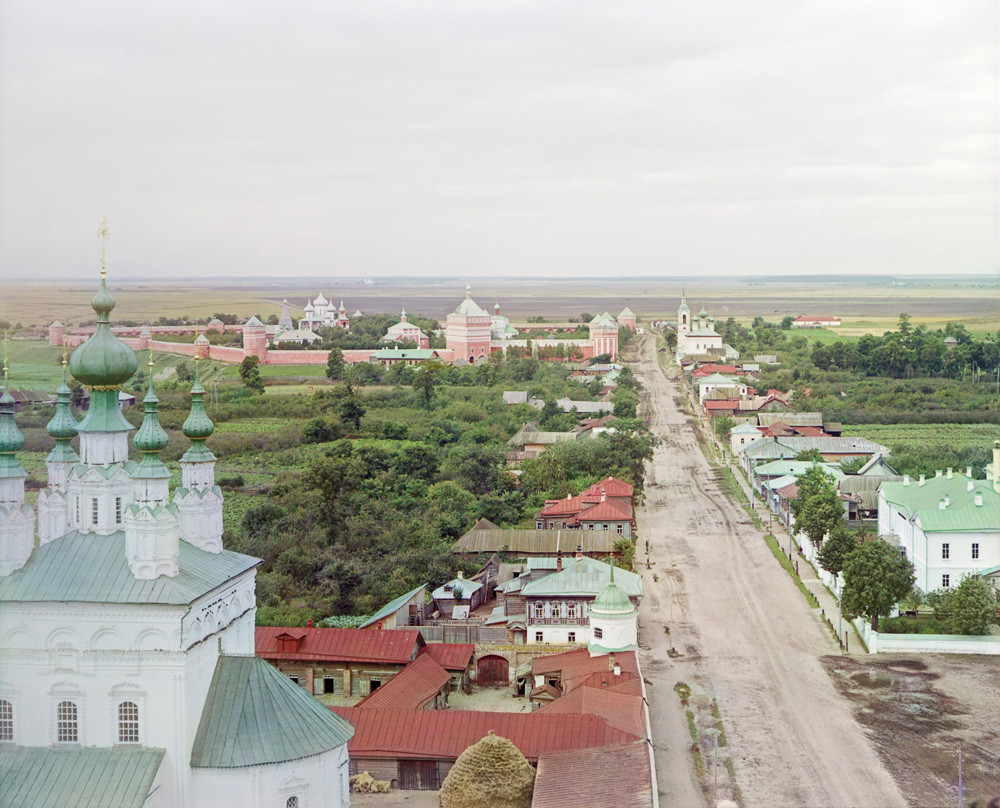 Suzdal. View north from bell tower of Convent of the Deposition of the Robe. Distant left: Savior-St. Evfimy Monastery with Intercession Church (left), Transfiguration Cathedral, Gate Church of Annunciation. Summer 1912