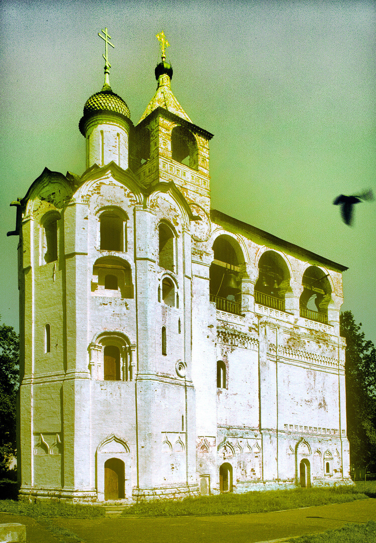 Savior-St. Evfimy Monastery. Church of the Nativity of John the Baptist with attached belfry. Northwest view. June 30, 1995
