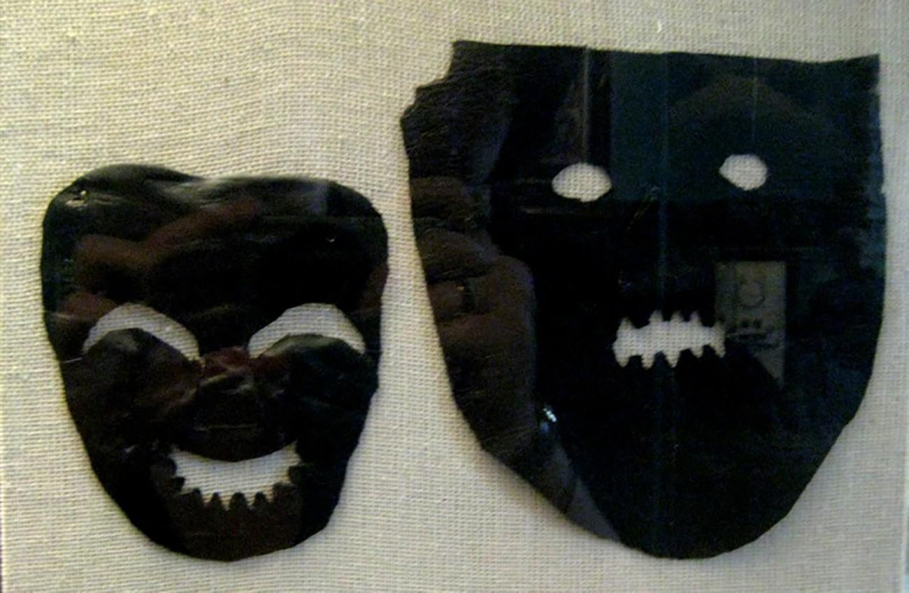Usnjene maske skomorohov iz 12. do 13. stoletja, ki so se ohranile v novgorodskih tleh