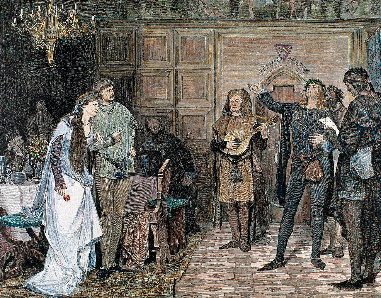 Troubadours singing and reciting one of his poems, written in Occitan. 12th and 13th centuries. Colored engraving.