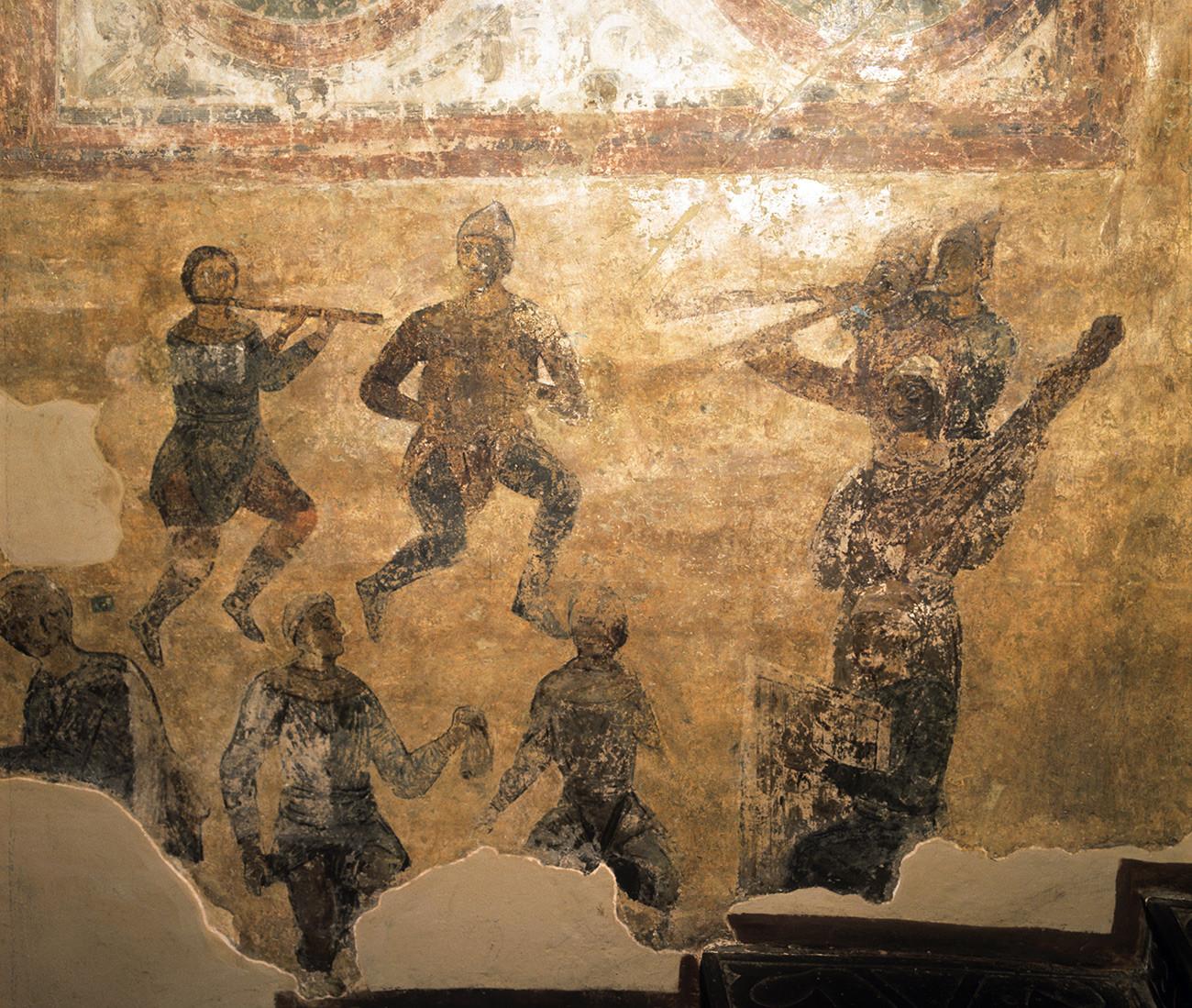 'Skomorokhs' fresco (1037) in the Saint Sophia's Cathedral, Kiev
