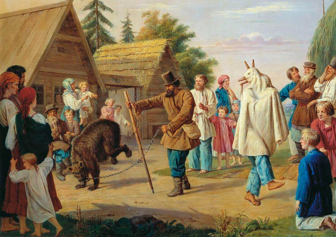 Skomorokhs in the village, 1857