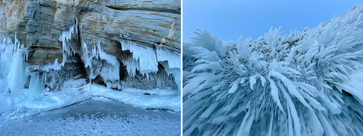 """Le straordinarie forme del ghiaccio al Mys Tri Brata (""""Capo dei tre fratelli"""")"""
