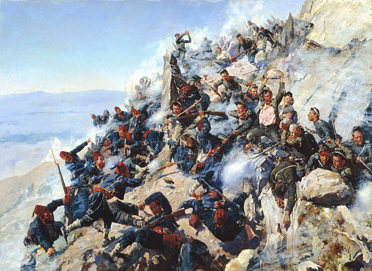 """Одреди из Орела и Брјанска бране """"Орловско гнездо"""", 12. август 1877. године. Алексеј Попов."""