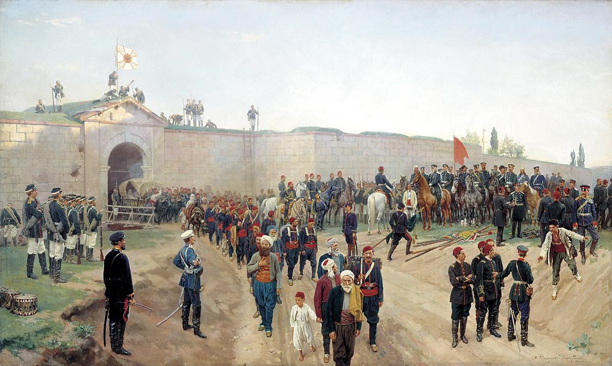 Николай Дмитриев-Оренбургский. Сдача крепости Никополь 4 июля 1877 года, 1883.