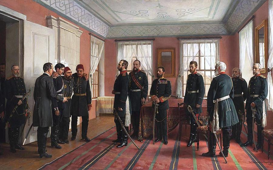 Zajetega Osmana Pašo, poveljnika turških sil pri Plevnu, privedejo pred ruskega carja Aleksandra II. na dan, ko so Rusi zavzeli Pleven, 29. decembra 1877. Nikolaj Dmitrijev-Orenburški