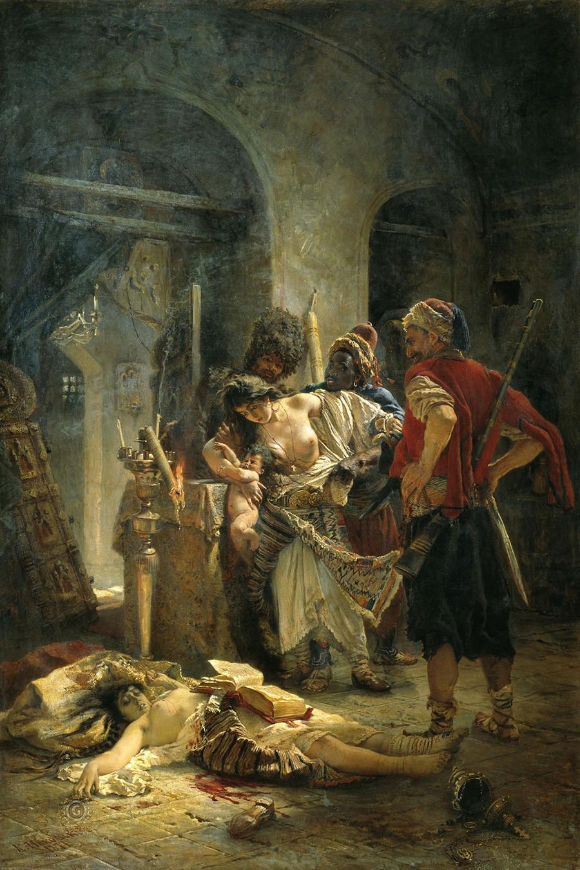 Bolgarske mučenice: Na sliki ruskega slikarja Konstantina Makovskega je prikazano, kako turški bašibozuki (neregularni vojaki, prostovoljci) posiljujejo bolgarske ženske v znak maščevanja za aprilsko vstajo.