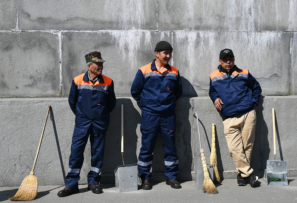 Street cleaning in Moscow is almost universally carried out my Middle Asian migrants