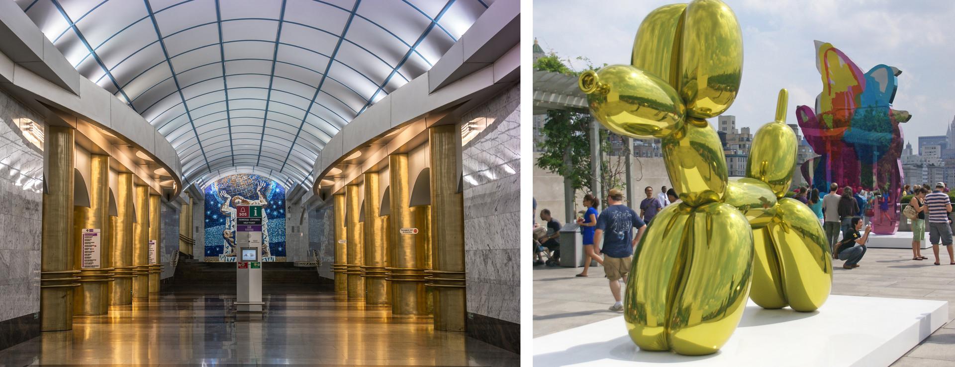 Tiang-tiang emas di Stasiun Mezhdunarodnaya mengingatkan warga setempat pada balon anjing karya seniman Amerika Jeff Koons.