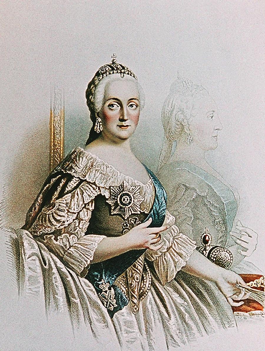 """""""Императорката Екатерина Втора"""", литографија на непознат автор."""