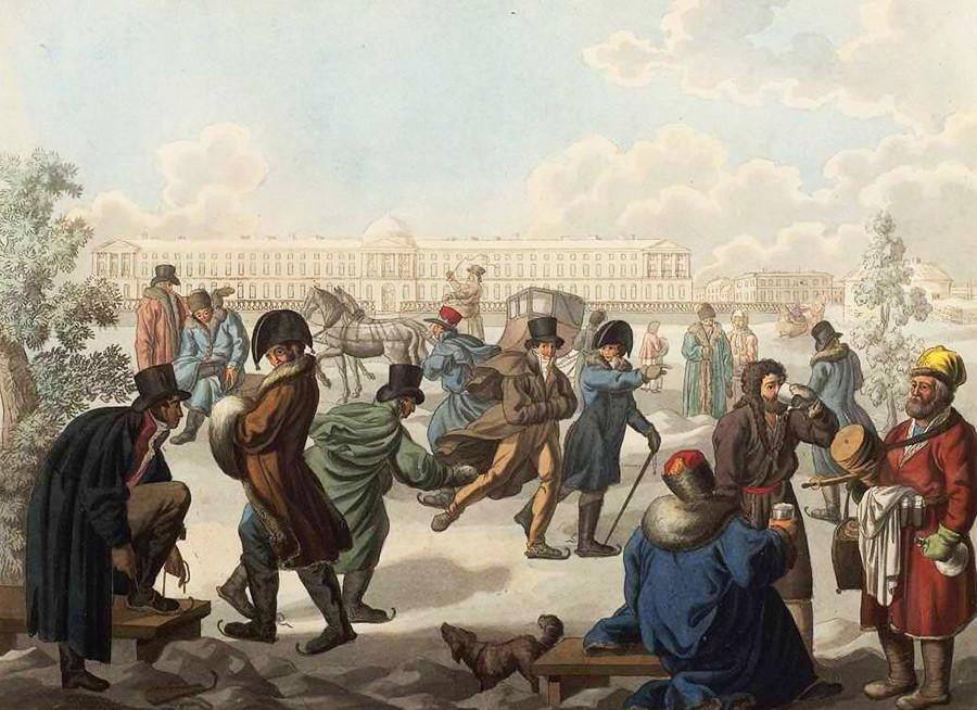 """""""Eislaufen auf der Newa"""" von Jemeljan Michailowitsch Kornejew, 1812"""