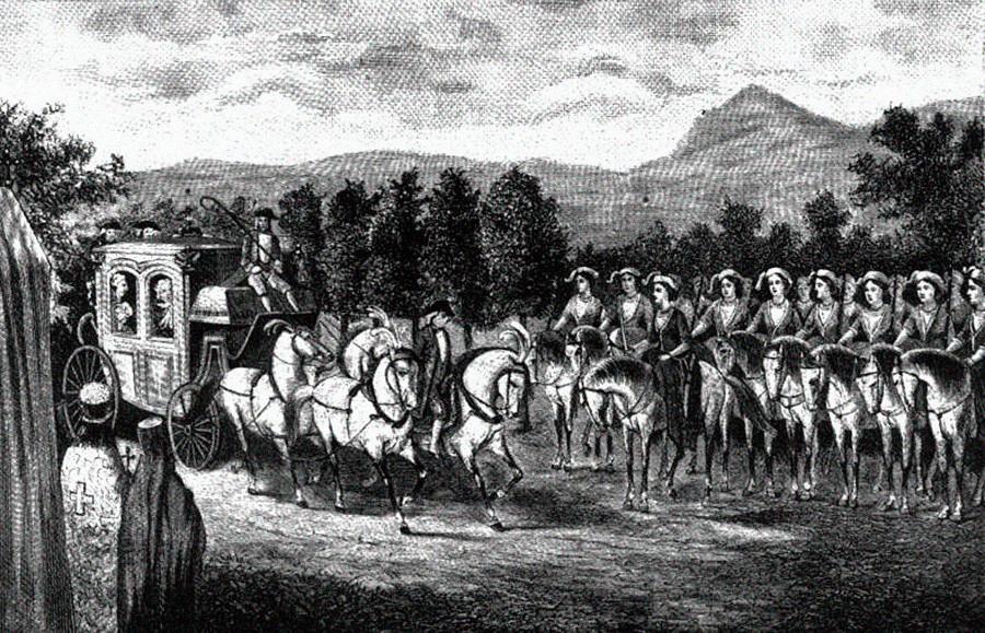 Амазонската рота среща Екатерина II в Крим