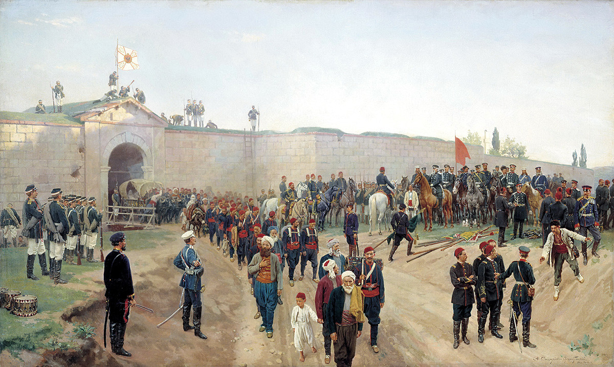Nikolai Dmitriev-Orenburgsky. Delivery of the fortress Nikopol, July 4, 1877 (1883)