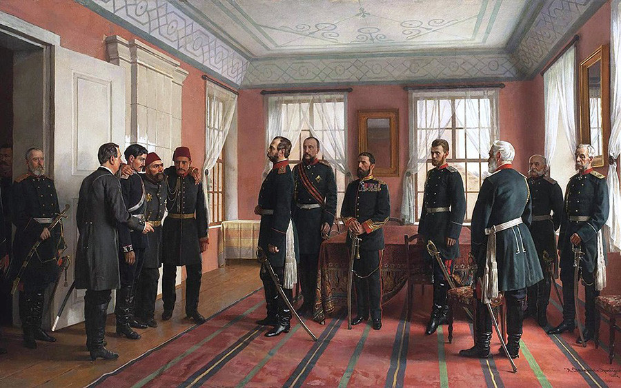 Nikolai Dmitriev-Orenburgsky. Introduction of the Captive Osman Pasha to Alexander II at Plevna (1898)