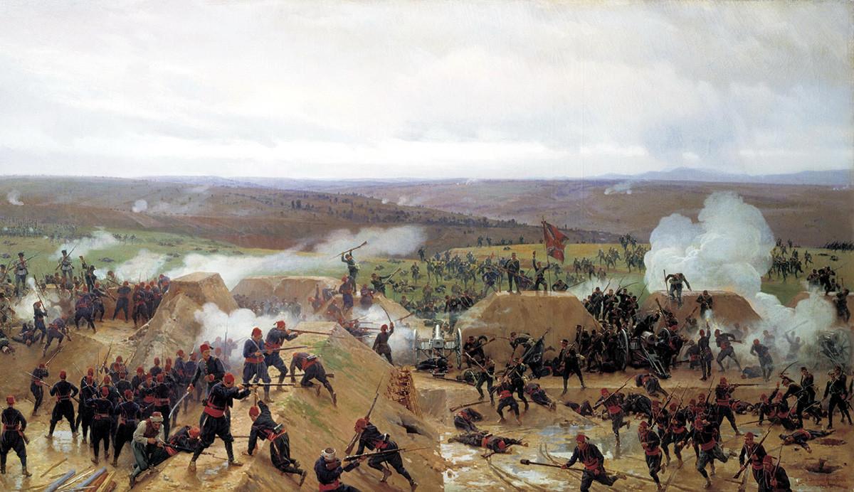 Русите ја заземаат Гривицката положба во руско-турската војна 1877-1878 година. Неколку часови подоцна Турците успеале да го повратат, а конечно го зазеле Романците на 30 август 1877 година. Николај Димитриев-Оренбуршки.