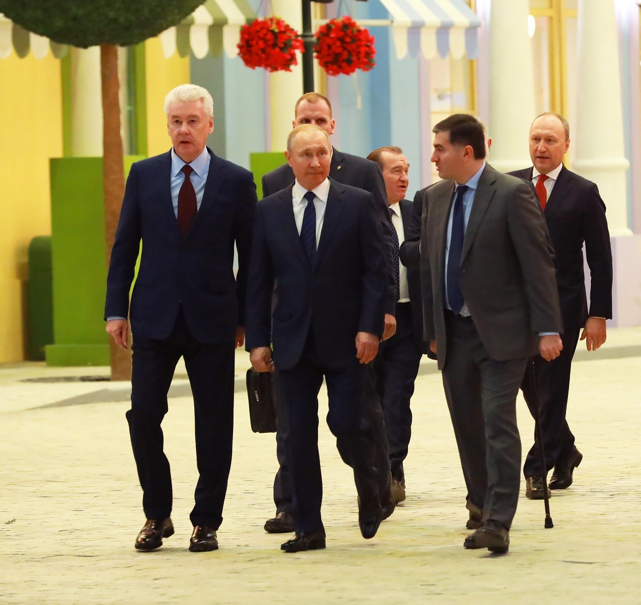 Moscow Mayor Sergey Sobyanin, President Vladimir Putin and the park's principal shareholder Amiran Mutsoev  tour Dream Island on February 27, 2020
